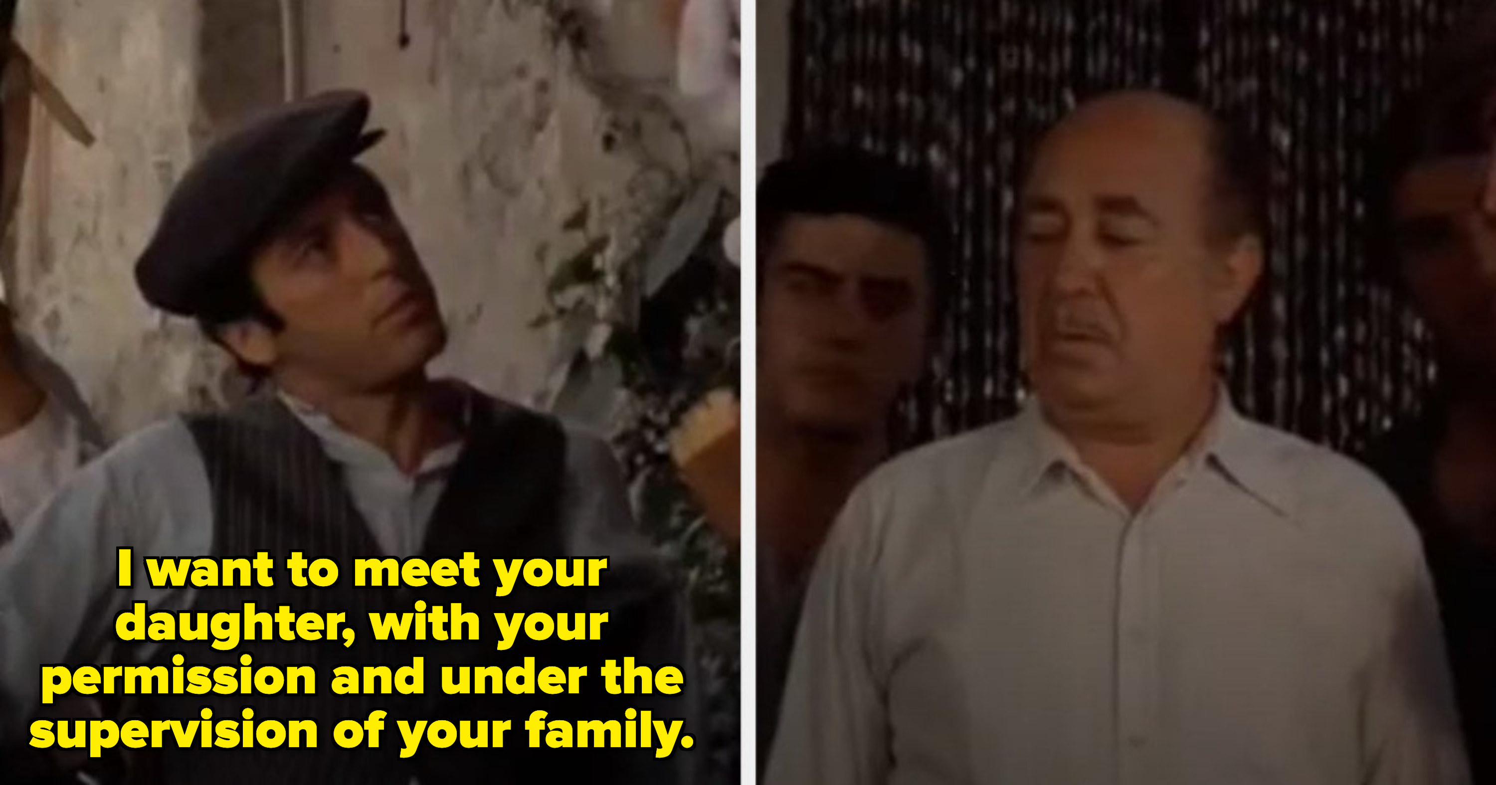"Michael from ""The Godfather"" asking Apollonia's father for his permission to marry her"