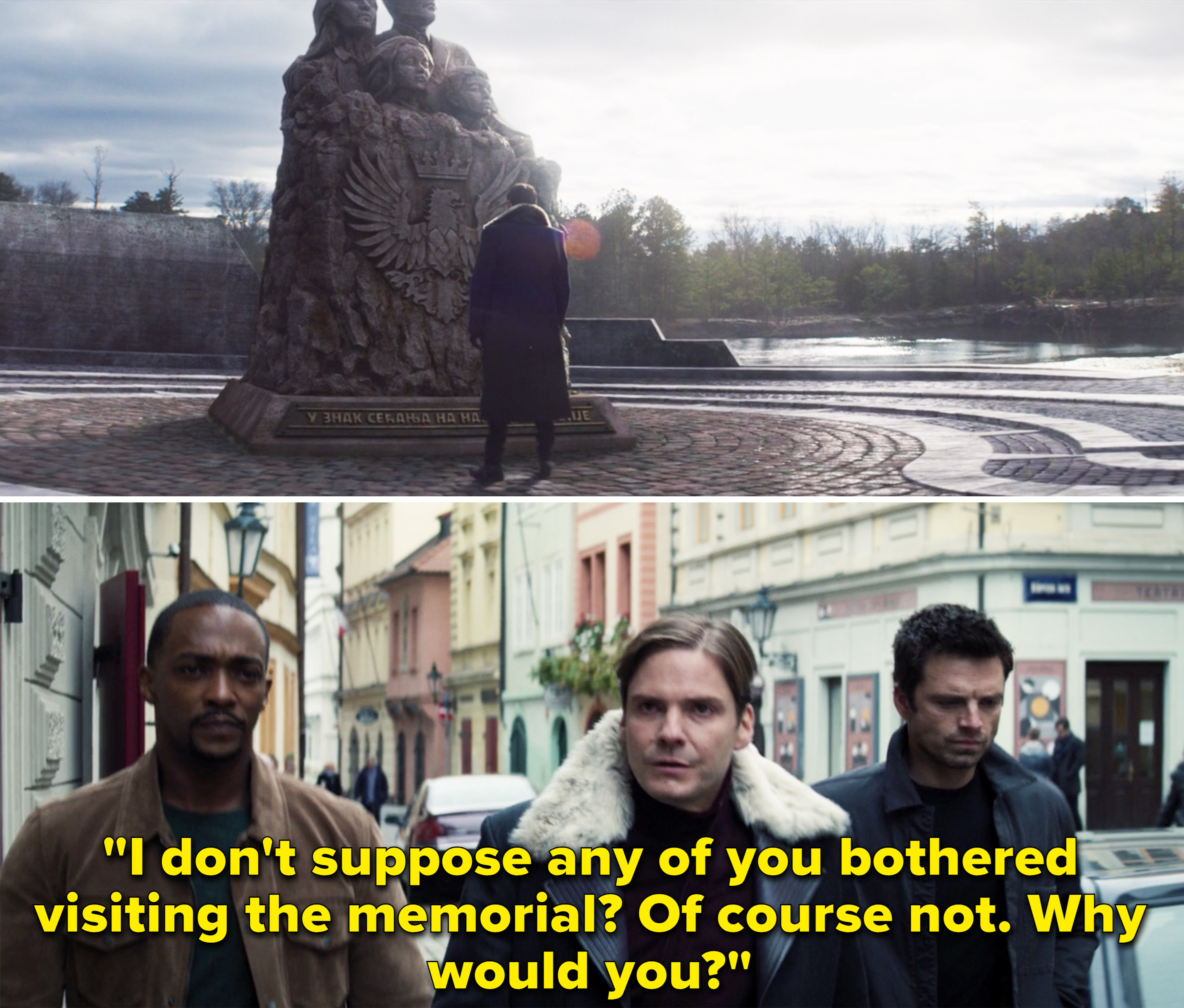 """Zemo saying, """"I don't suppose any of you bothered visiting the memorial? Of course not. Why would you?"""""""