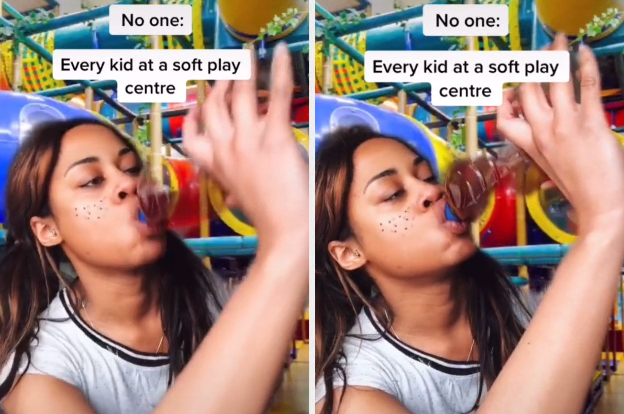 A TikToker chugs a huge bottle of juice