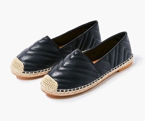 black and tan quilted espadrille flats