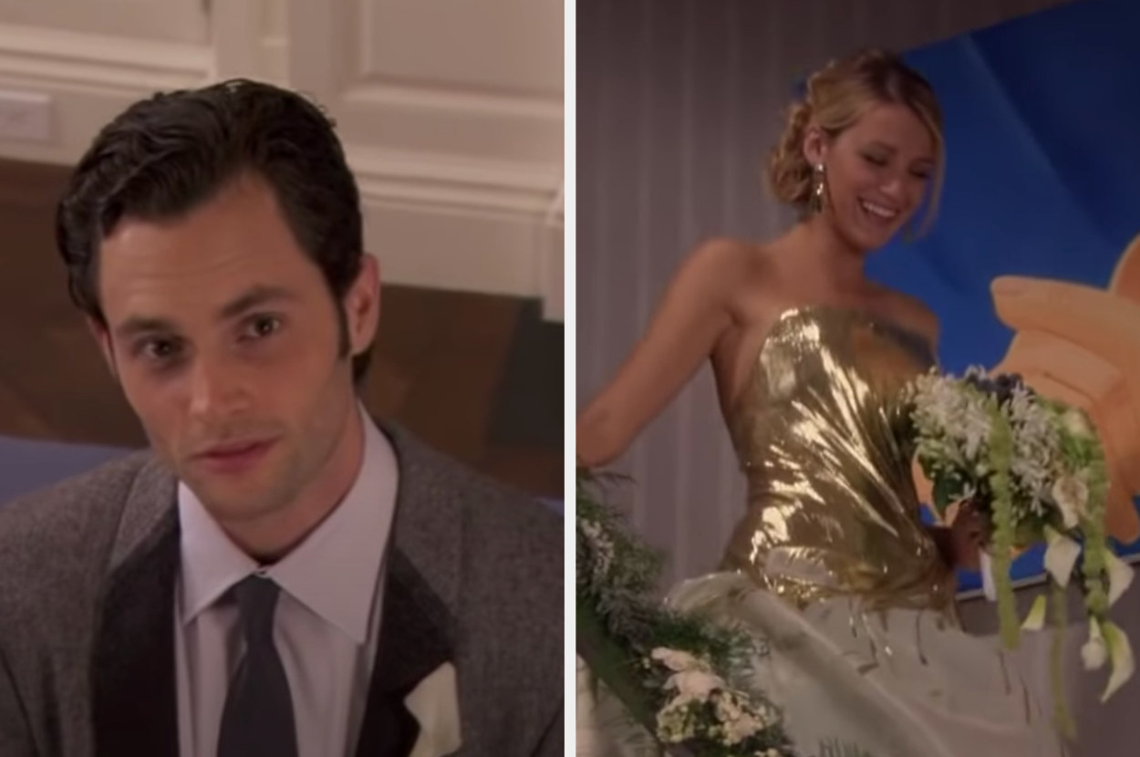 Dan admiring Serena as she comes down the stairs in her wedding dress