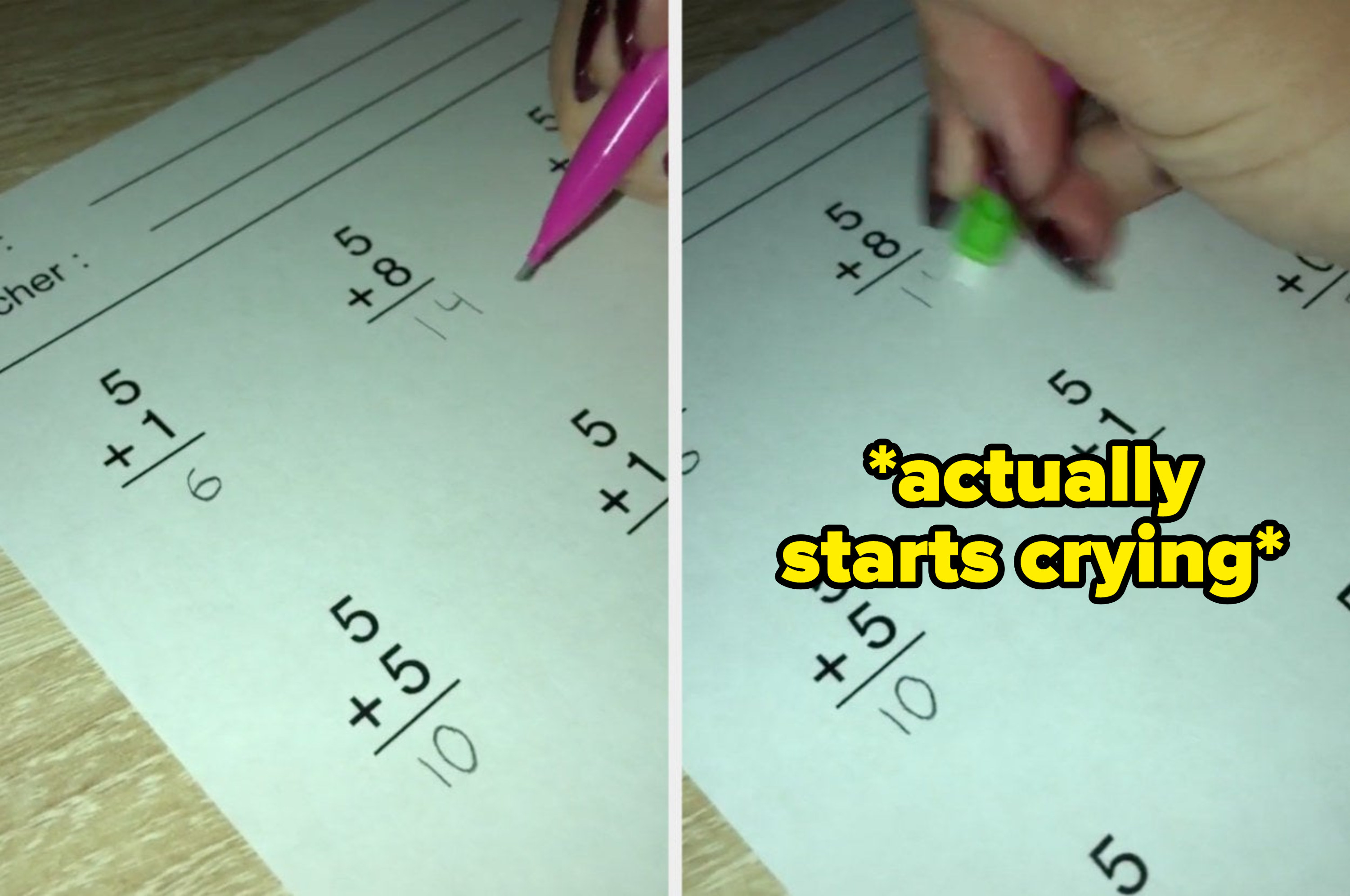 """Someone fills out answers on their math homework with the caption: """"actually starts crying"""""""