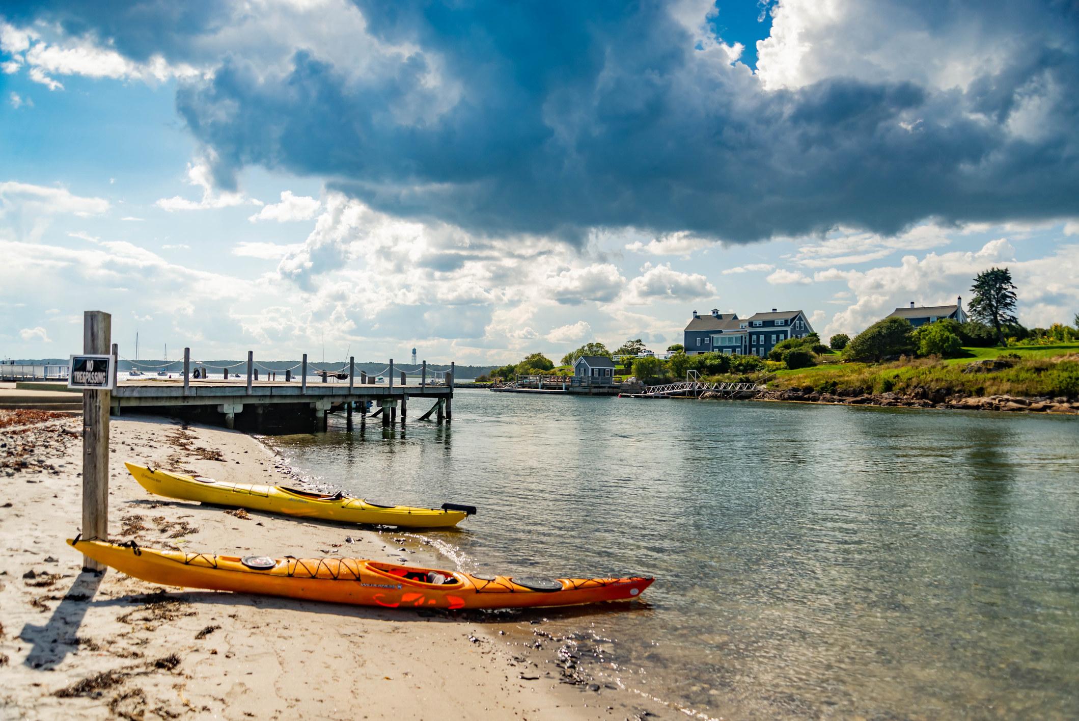 Kayaks on the beach in Maine