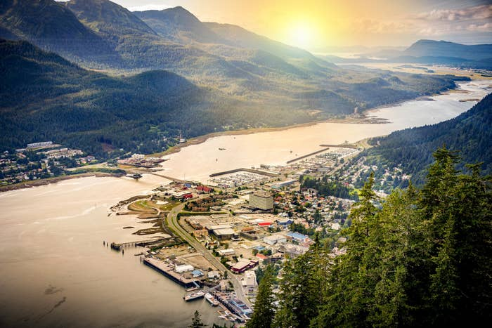 Aerial view of Juneau, Alaska, showing the city next to tall trees and water