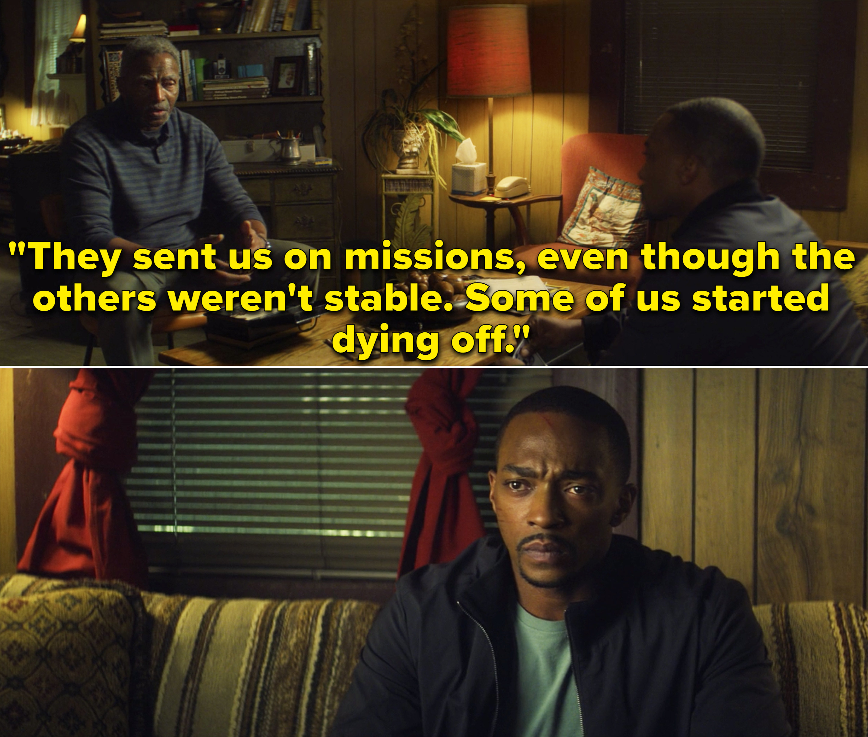 """Isaiah telling Sam, """"They sent us on missions, even though the others weren't stable. Some of us started dying off"""""""