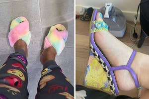 reviewer wearing rainbow tie-dye slippers and BuzzFeed editor wearing floral wedges