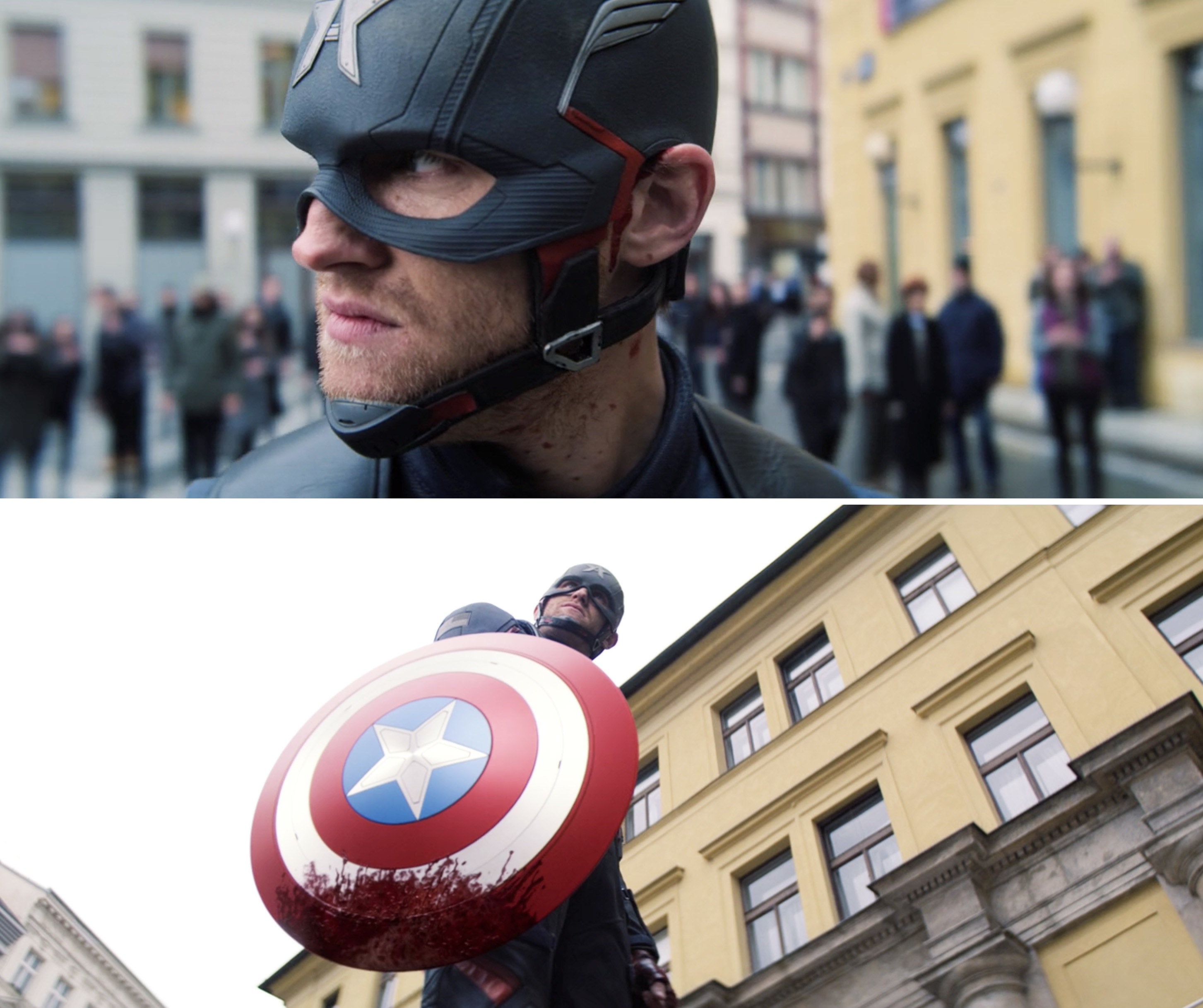 John Walker standing with blood on Captain America's shield
