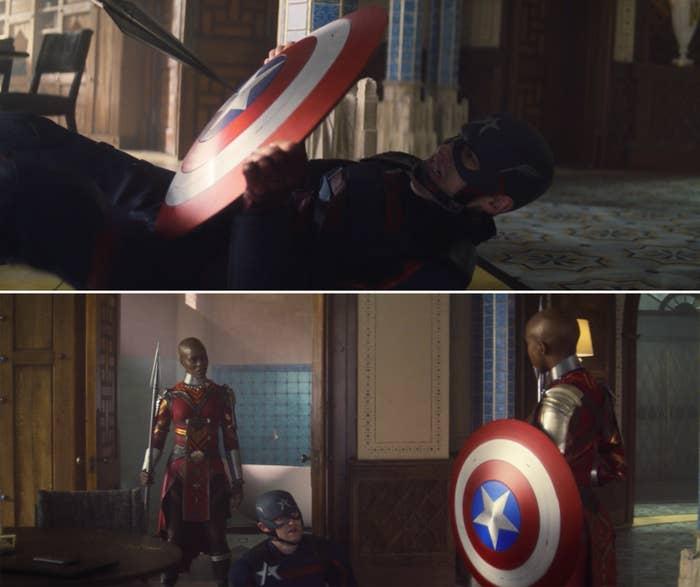 The Dora Milaje holding Captain America's shield