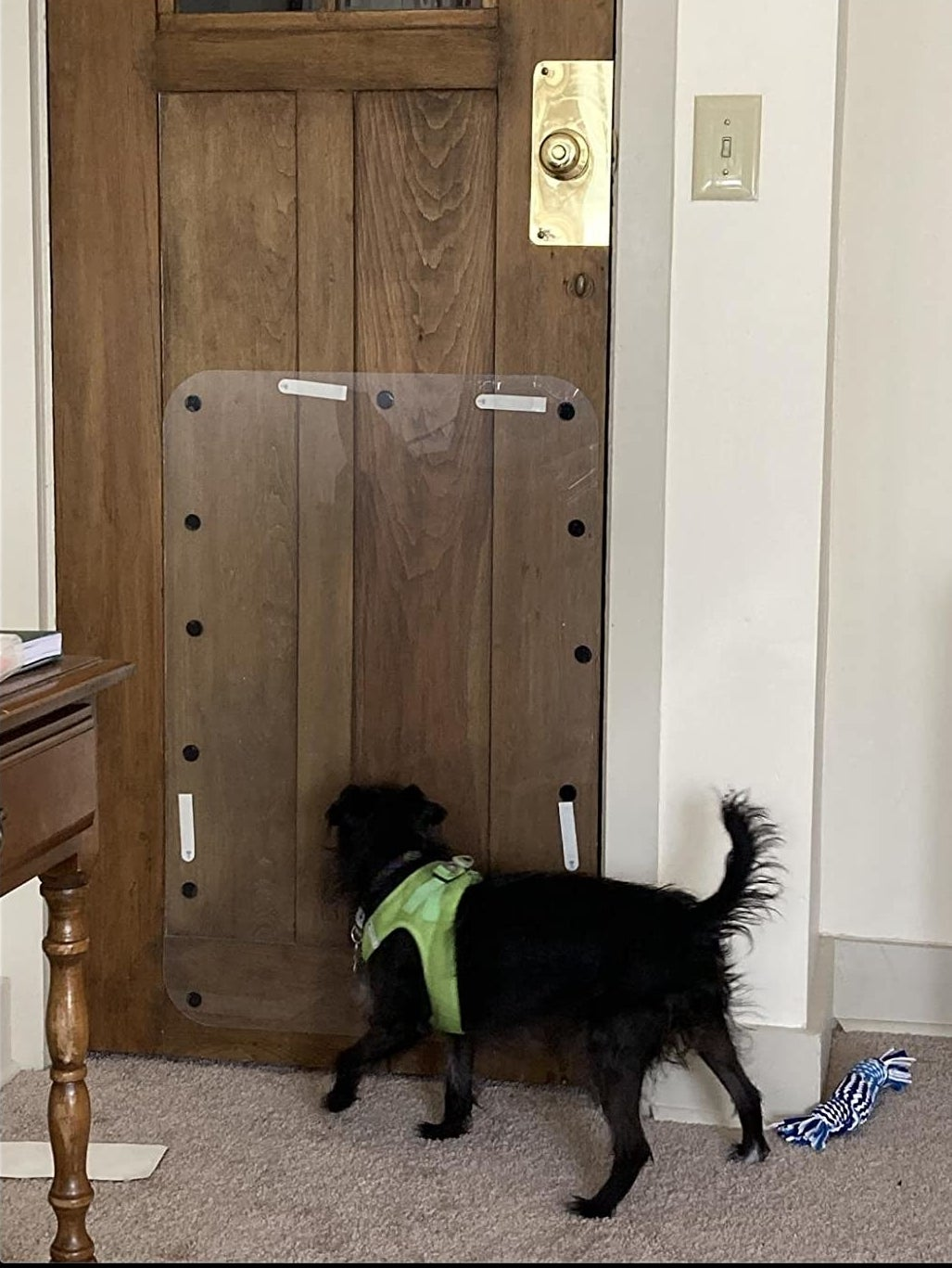 The door protector, which adheres directly to the door with stickable Velcro spots
