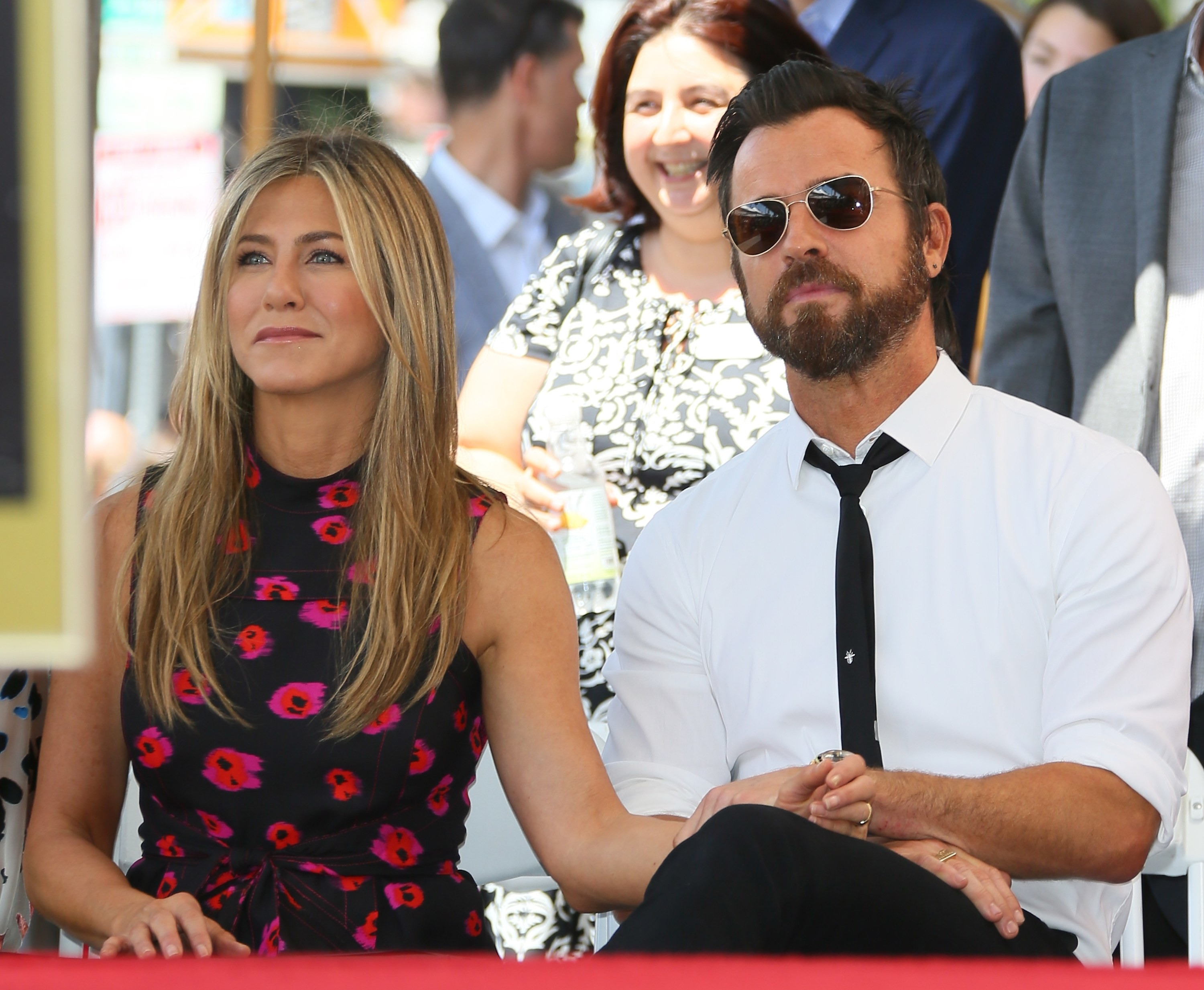 Aniston and Theroux at Jason Bateman's Walk of Fame ceremony