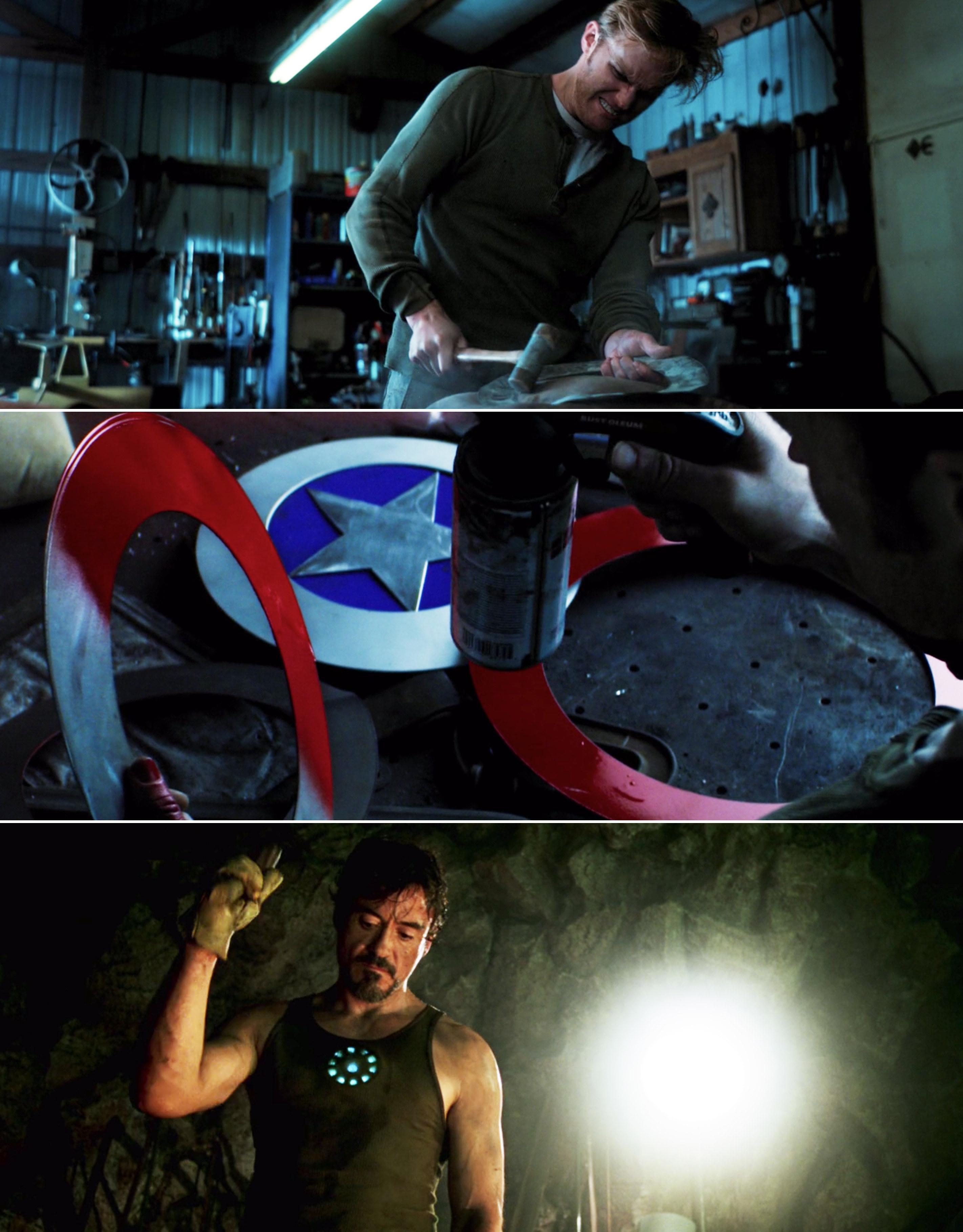 John hammering his shield vs. Tony hammering in a cave