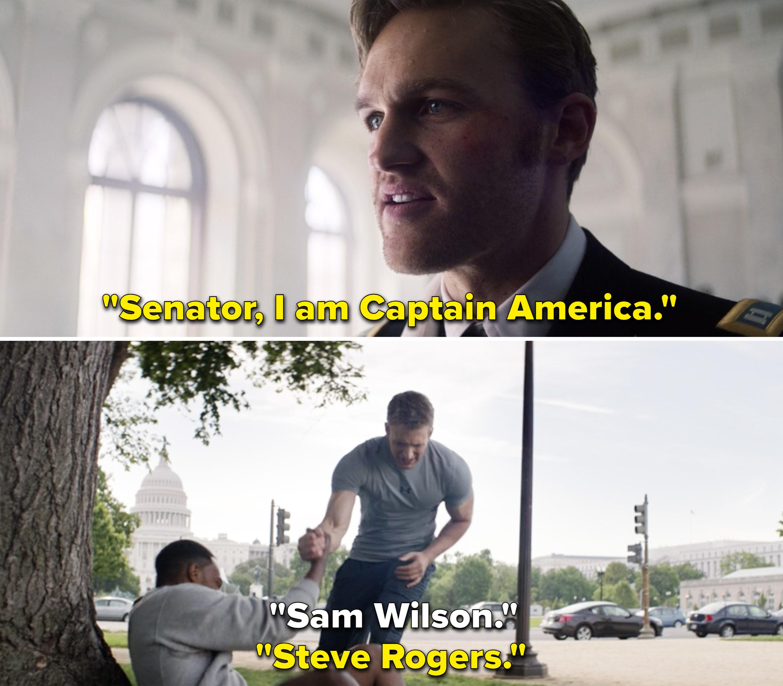 "John saying, ""Senator, I am Captain America"" vs. Steve introducing himself to Sam as ""Steve Rogers"""