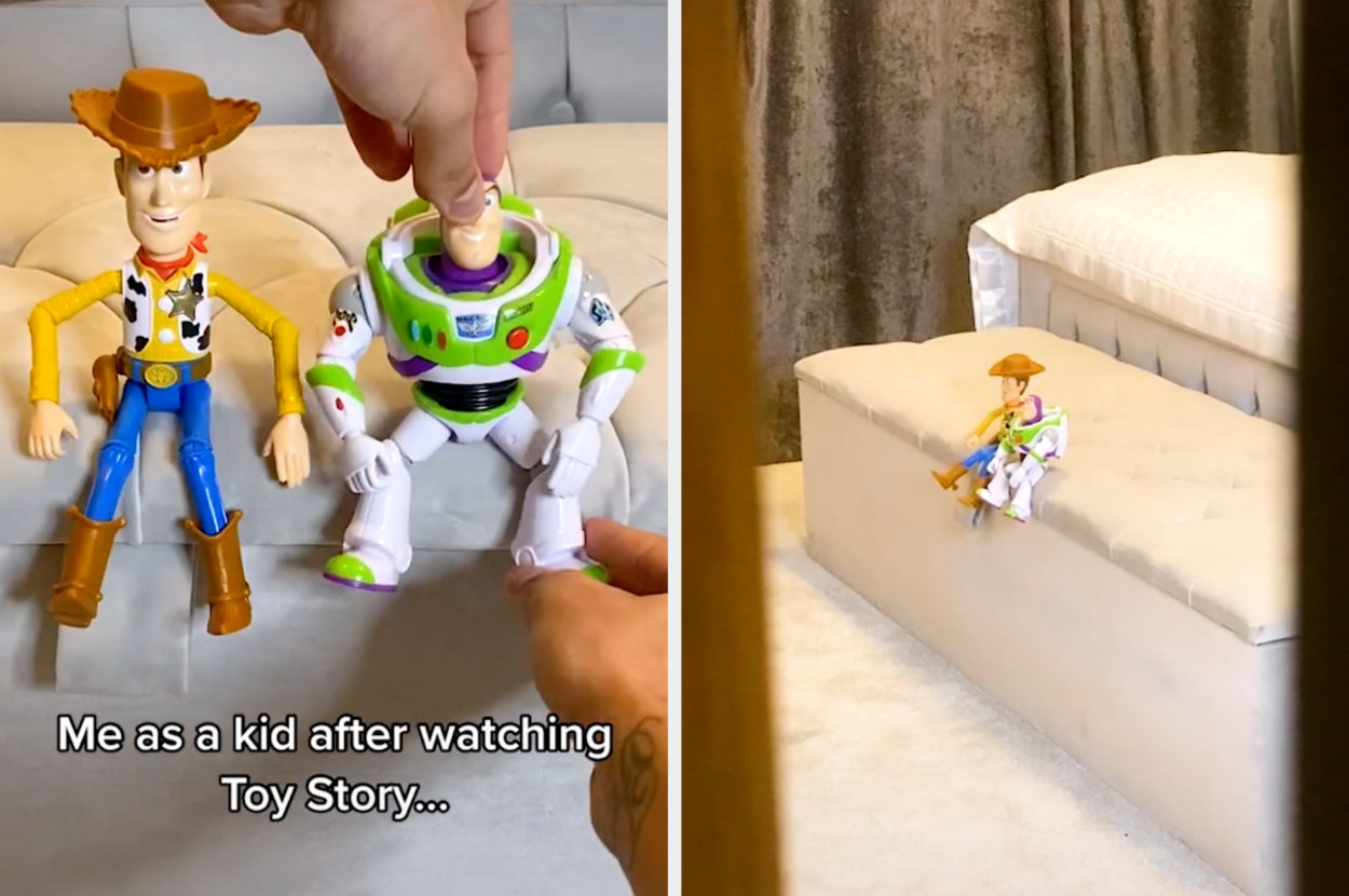 Someone pretends to spy on a Woody and Buzz Lightyear toy through a door that's creaked open
