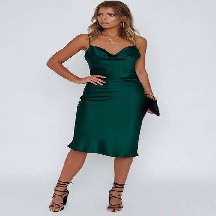 Model wearing the emerald dress