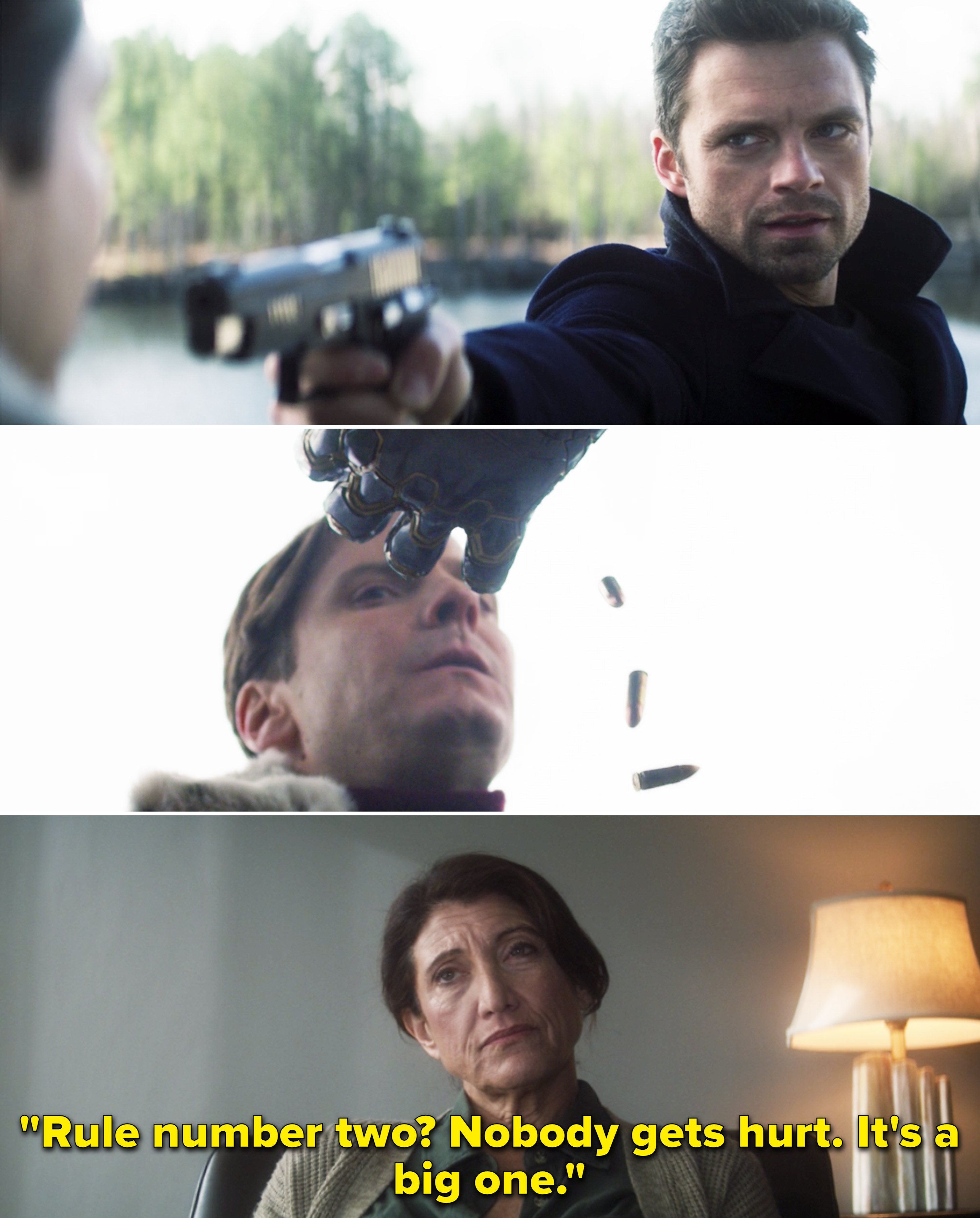 """Bucky's therapist saying, """"Rule number two? Nobody gets hurt. It's a big one"""""""