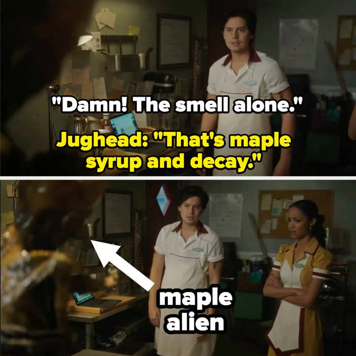 Jughead and a coworker inspect the maple preserved corpse of an alien