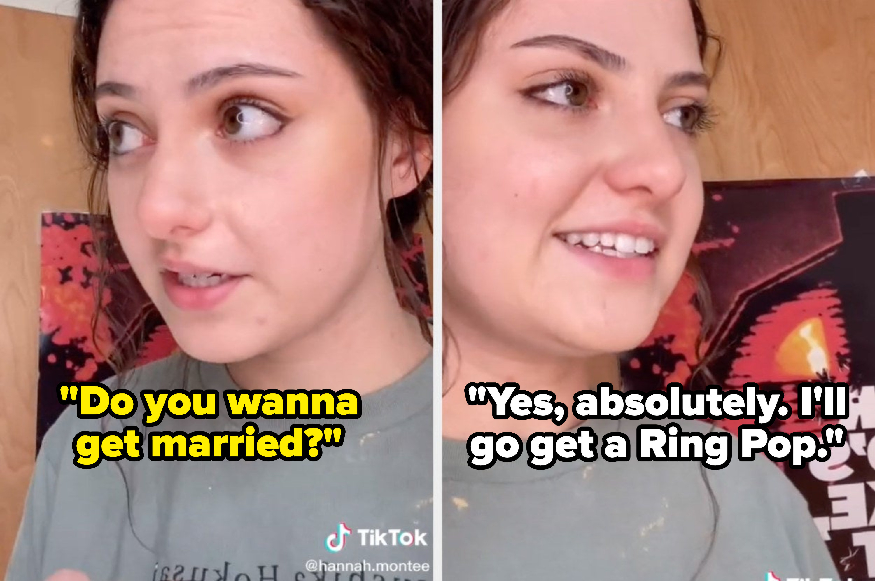 """A TikToker pretends to be a kid asking, """"Do you wanna get married?"""" then replies, """"Yes, absolutely. I'll go get a Ring Pop."""""""