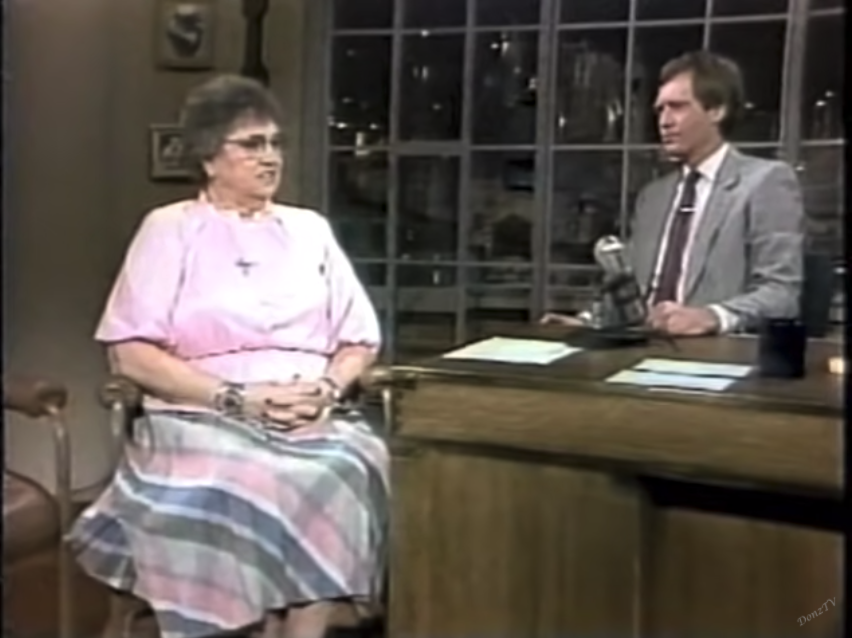 Barbara Blackburn sits next to David Letterman on his TV show