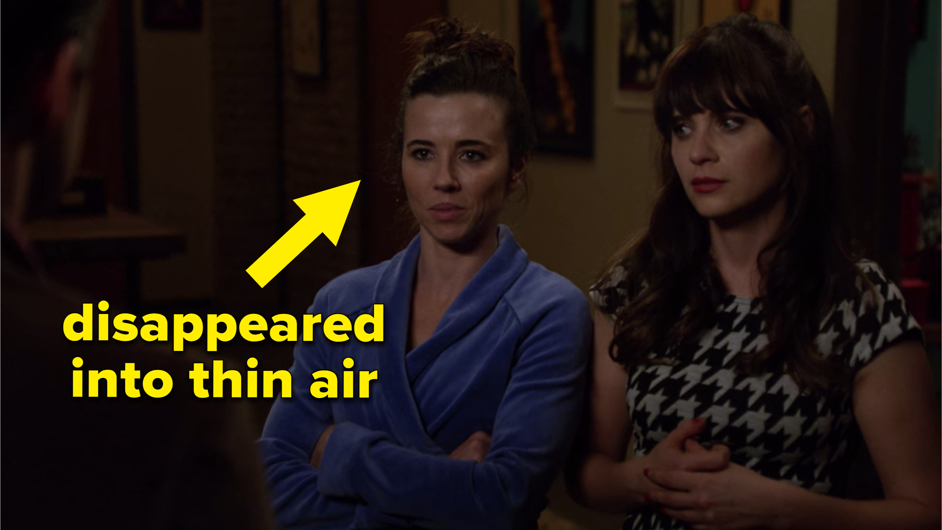 "Abby with an arrow pointed at her that says ""disappeared into thin air"""