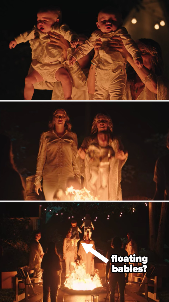 Alice and Polly drop babies into the fire, but they float away, unharmed.