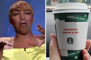 A woman looking disgusted; a Starbucks cup
