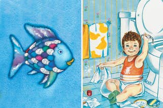 the rainbow fish swimming beside a child on the bathroom floor playing with toilet paper