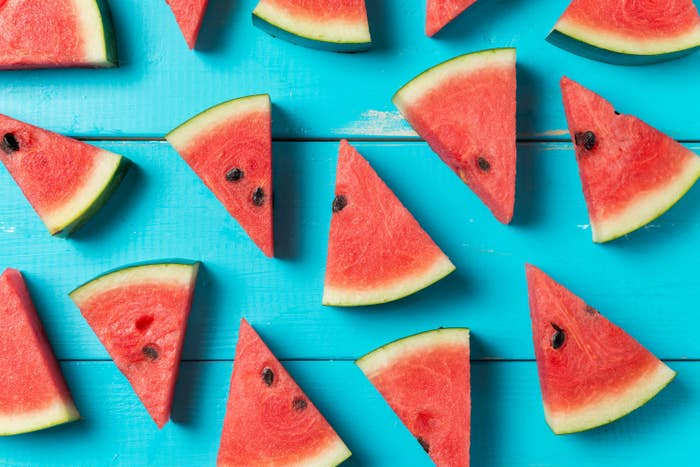 An image of watermelon over a blue background