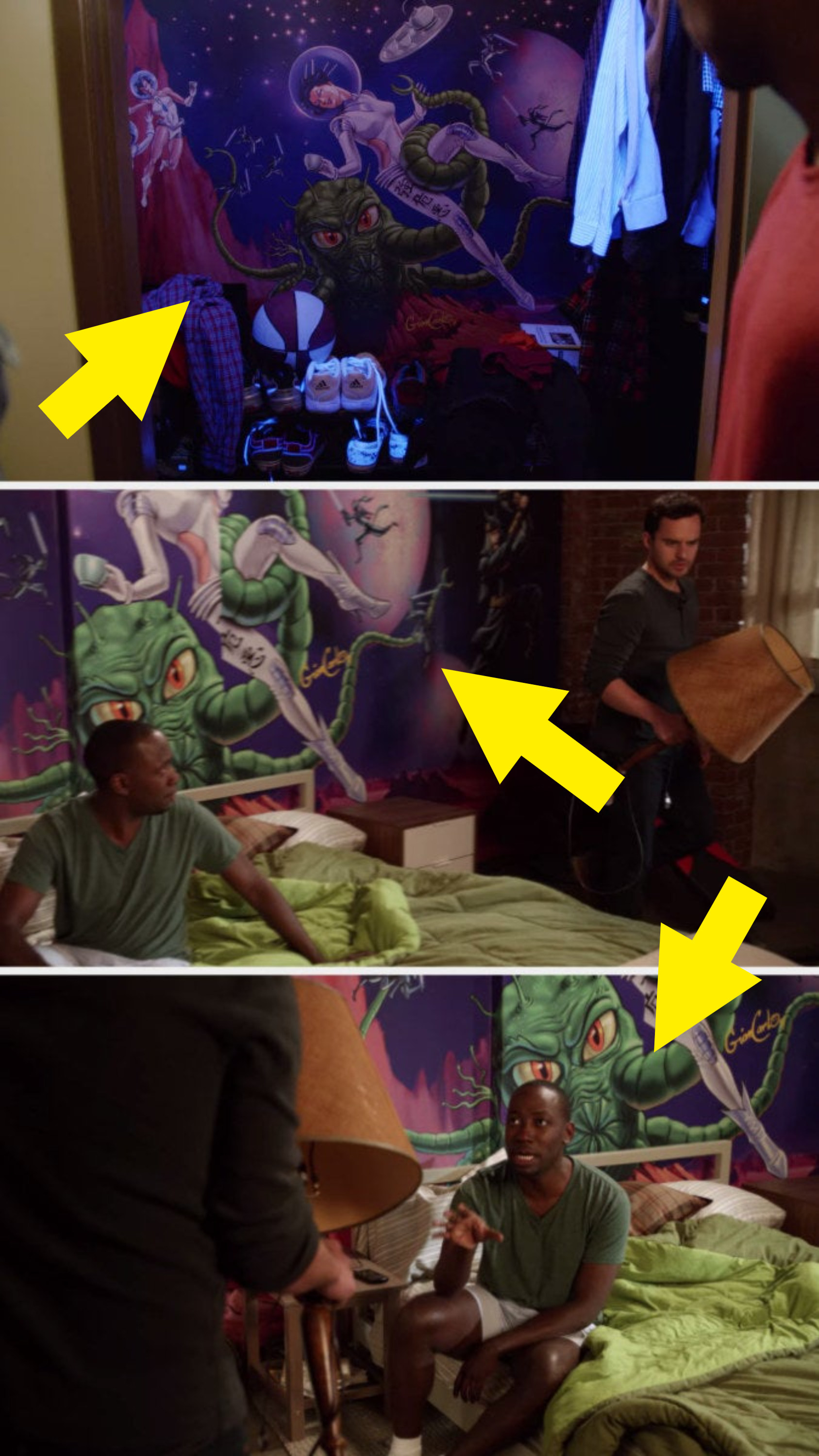 The mural in winston's closet, and the mural behind his bed later in season 1