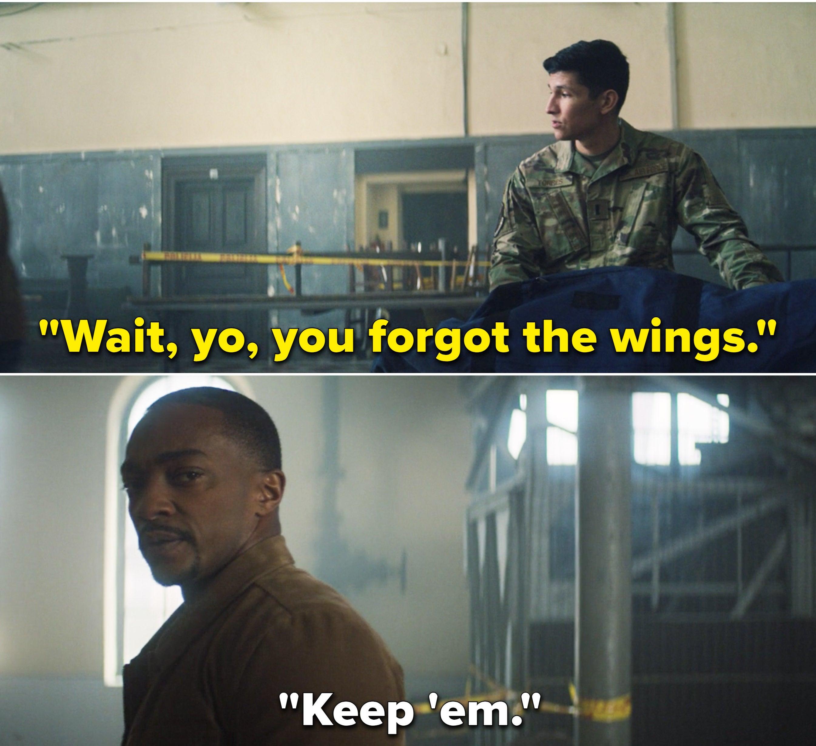 "Joaquin saying, ""Wait, yo, you forgot the wings"" and Sam saying, ""Keep 'em"""