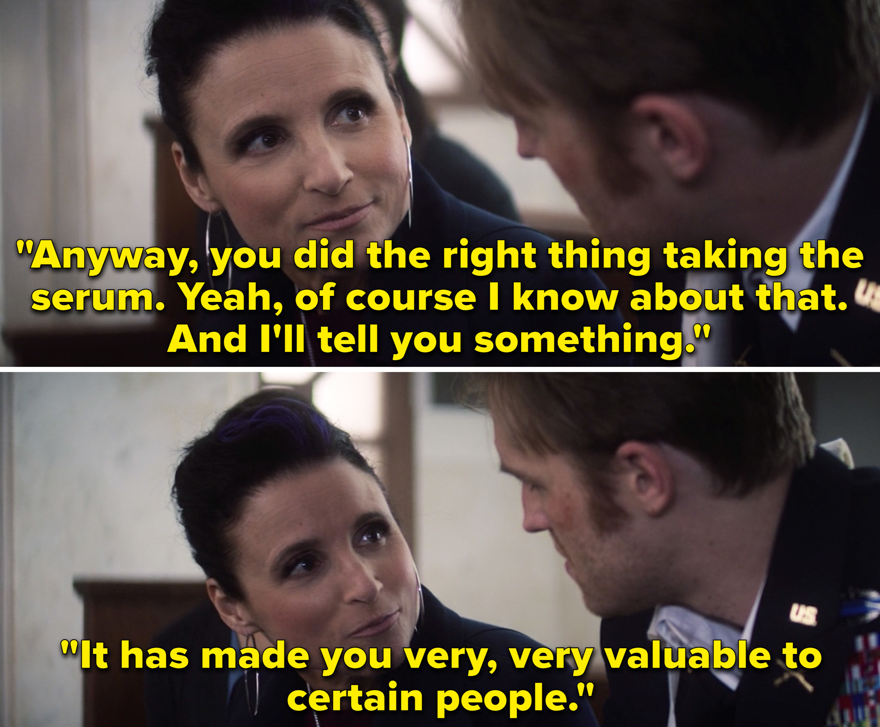 """Val telling John that taking the serum made him """"very, very valuable to certain people"""""""