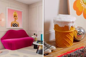 a pink lip-shaped settee and an ice cream stool