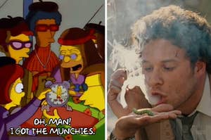 """A side-by-side image of a screencap from """"The Simpsons"""" about having the munchies and an image of Seth Rogen smoking weed"""