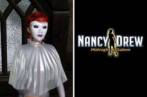 """phantom with face mask next to a photo that says """"nancy drew"""""""