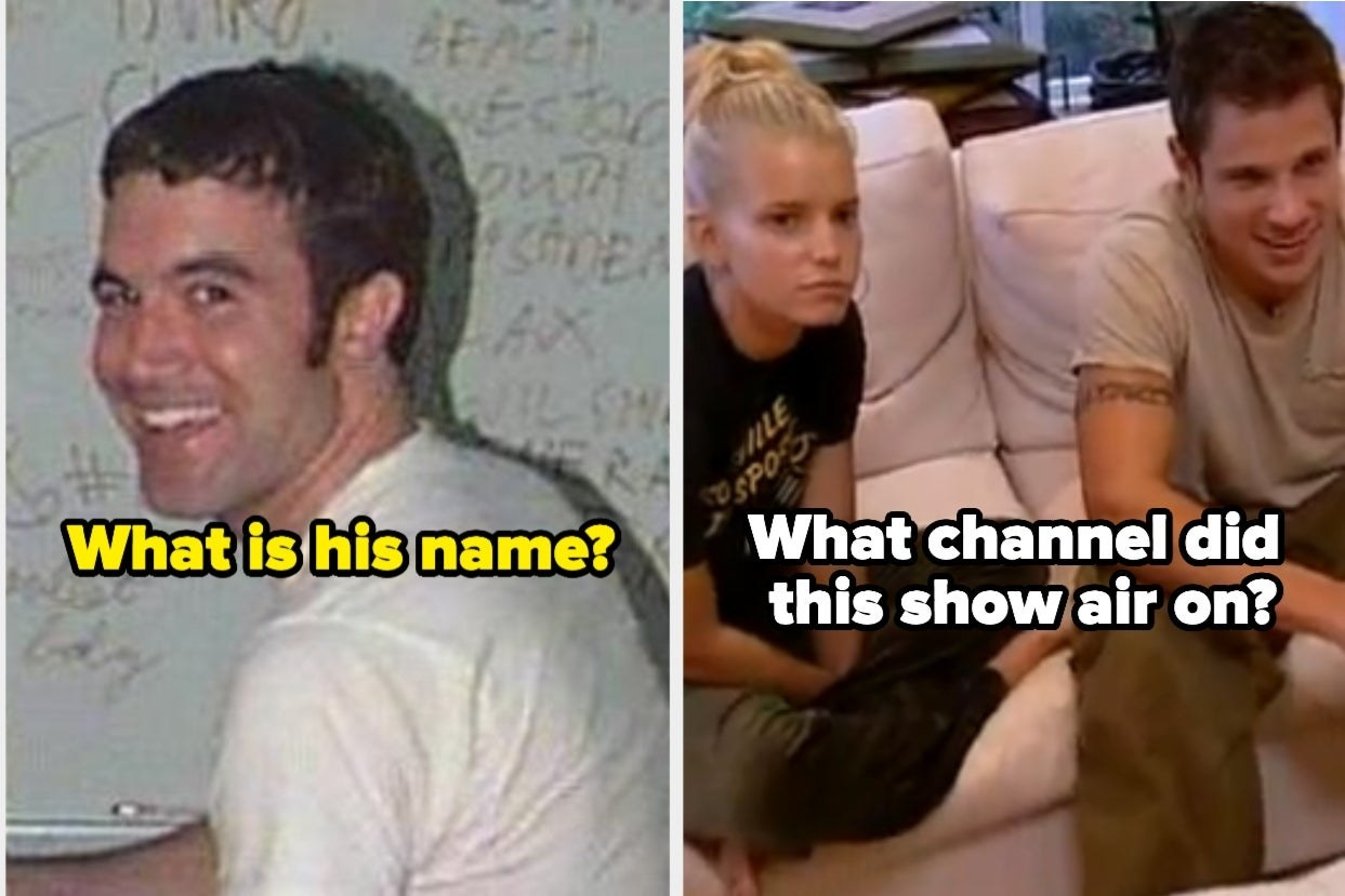 "Tom from Myspace with the words ""What's his name?"" and Nick and Jessica: Newlyweds with the words ""What channel did this show air on?"""