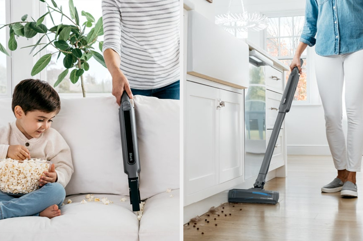 a vacuum cleaning handheld and on hardwood floors