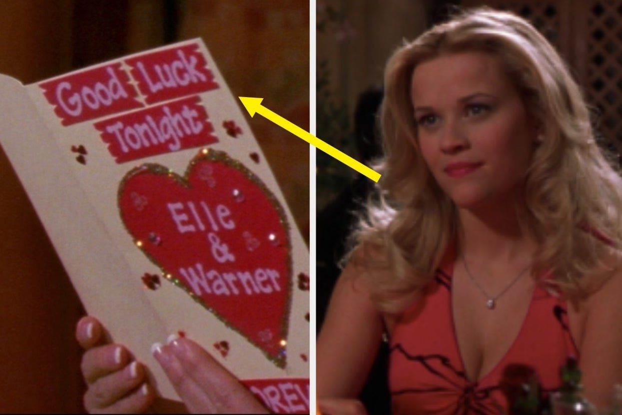a card that says good luck tonight elle on the left and elle at dinner on the right