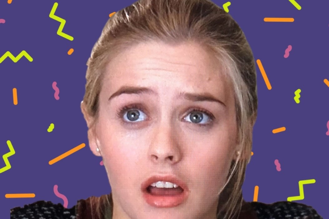"A shocked Cher from ""Clueless"" with a '90s retro background"