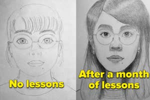 An average drawing of a girl then an amazing one with the text: after a month of lessons