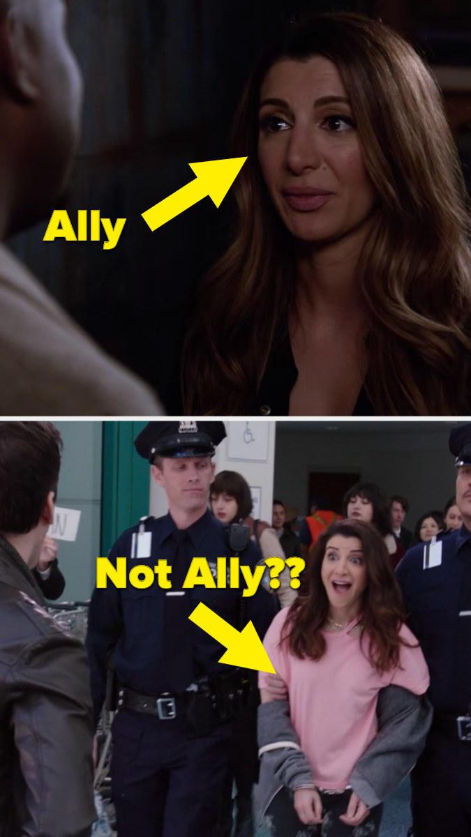 "Ally in new girl with an arrow pointed to her that says ""Ally"" and Kate in Brooklyn 99 with an arrow pointed to her that says ""Not allie??"""
