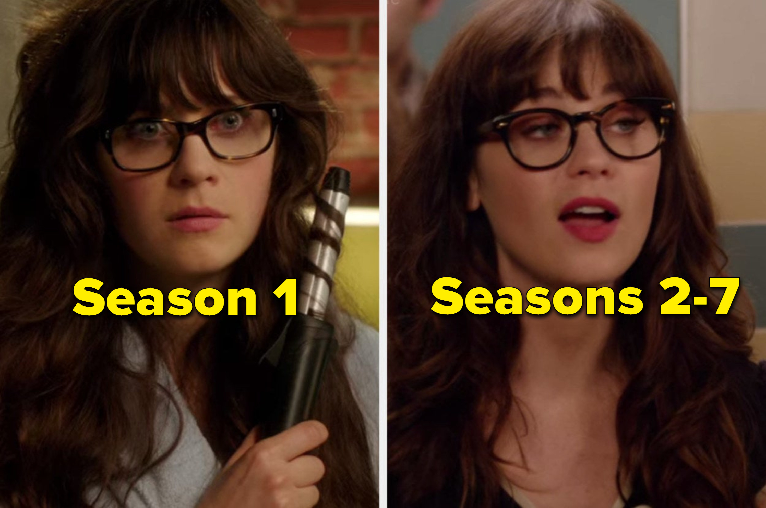 Jess with square glasses in season one and jess with round glasses in seasons 2-7