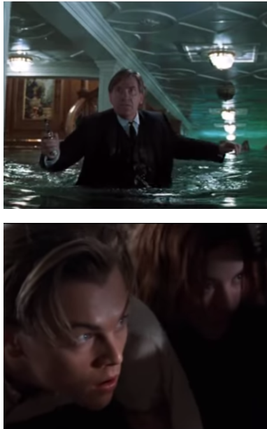 Billy Zane's valet wades through water in the ship, toting a gun