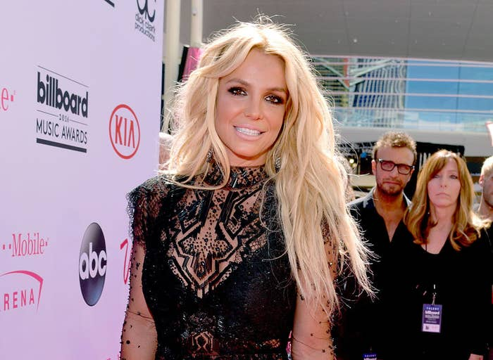 Britney wearing a black sleeveless outfit at the 2016 Billboard Music Awards