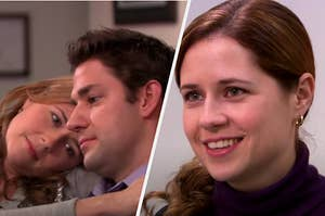 Pam is laying on Jim's shoulder on the left while she smiles on the right