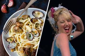 A seafood pasta dish is on the left with Sharpay singing on the right