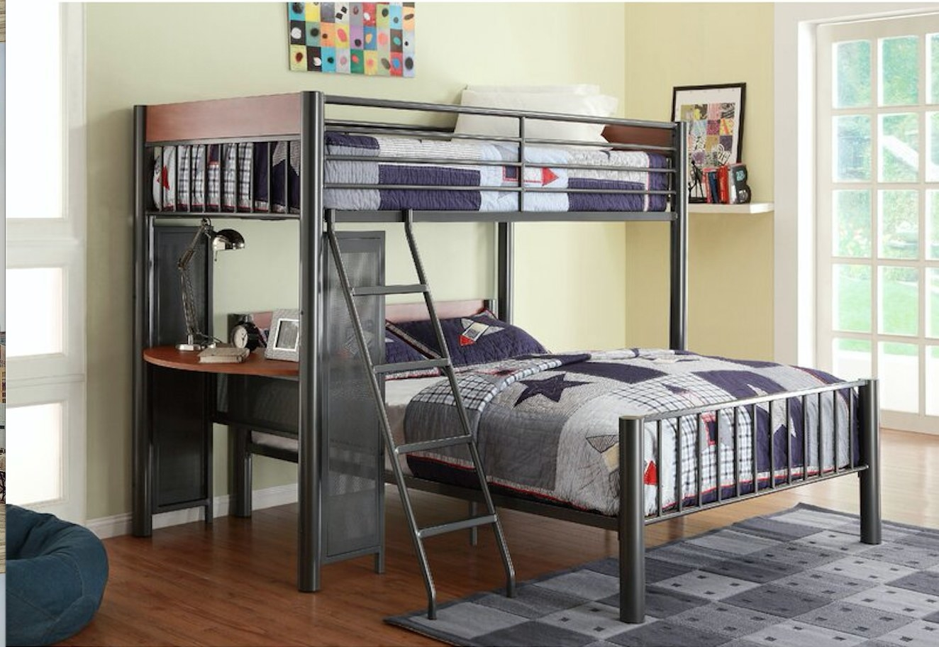 A twin bunk bed that includes a ladder, slats, and guardrails and a built-in desk