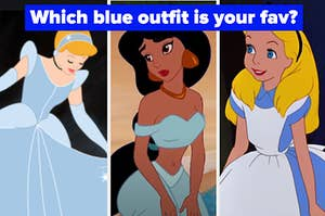 "Cinderella is on the left with Tiana and Alice all wearing blue with a label that reads ""Which blue outfit is your fav?"""