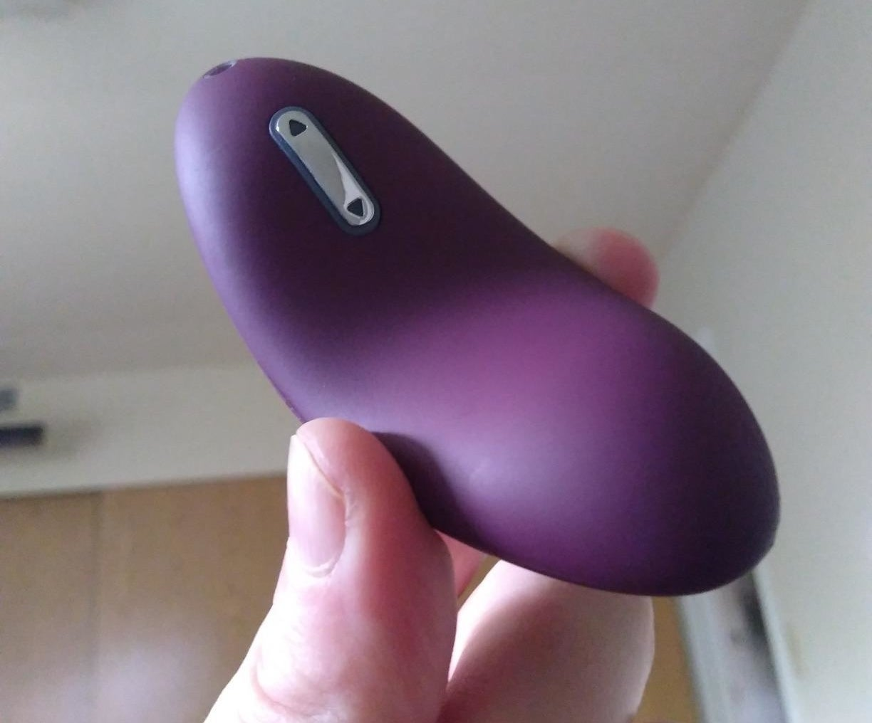 A reviewer holds the purple vibrator