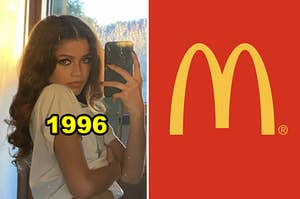 "Side-by-side of Zendaya's mirror selfie from Instagram and the McDonald's ""M"" lgoo"