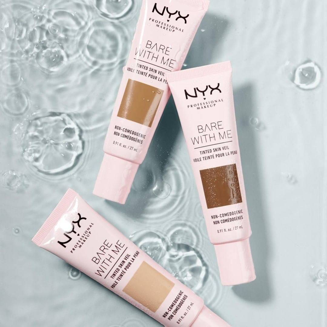 3 tubes of Nyx bare with me tinted skin veil against water