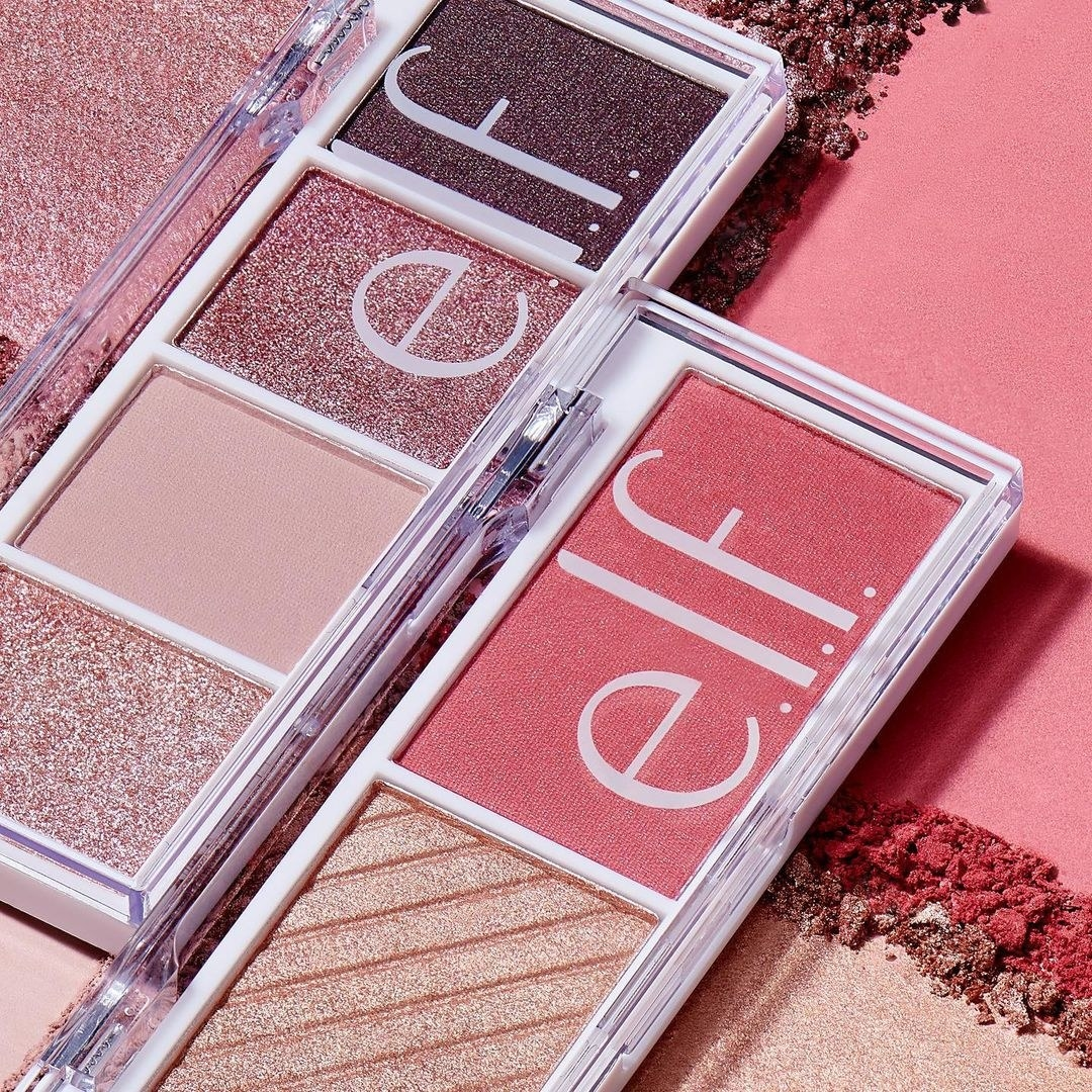 Two opened e.l.f. bite size eyeshadow palettes